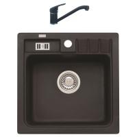 Chiuveta bucatarie compozit granital Alveus Niagara 20 A91 carbon neagra patrata 46.5 x 46.5 cm + baterie GM 210 monocomanda neagra