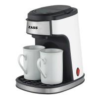 Cafetiera Zass ZCM 01, 450 W, 0.24 l, capacitate 2 cesti, 2 cani ceramice incluse, intrerupator cu led, alba