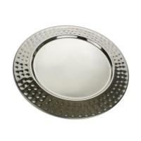 Tava rotunda pentru servire, Kasemi 1102873, inox, cu model, 33 cm
