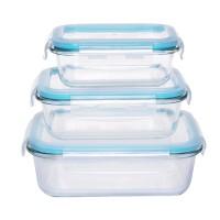 Caserole depozitare alimente, cu capac etans, HS601RC, sticla transparenta, set 3 bucati