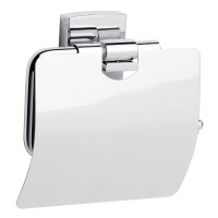 Suport pentru hartie igienica, tesa Klaam 40259, cu clapeta, autoadeziv, montaj pe perete, metal cromat, 14 x 12.5 x 5.3 cm