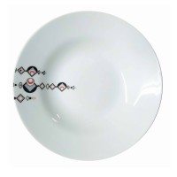 Farfurie adanca EX8417, portelan, alb + negru, 20 cm