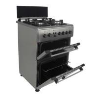 Aragaz electric / gaz Studio Casa Duetto FM 60/60, 4 arzatoare gaz, 1 cuptor electric + 1 cuptor gaz, aprindere electrica, grill, ventilator, latime 60 cm, inox + sticla neagra