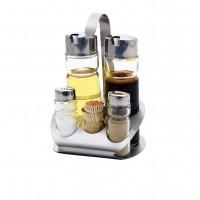 Oliviera cu 5 recipiente pentru condimente, BL-3435, sticla + otel inoxidabil, 12.5 x 11 x 17.5 cm