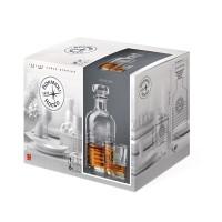 Pahar + sticla whisky, Officina, din sticla, 300 + 1250 ml, set 7 bucati
