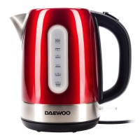 Fierbator de apa electric Daewoo DK2400R, 1.7 l, 2400 W, oprire automata, rosu + argintiu