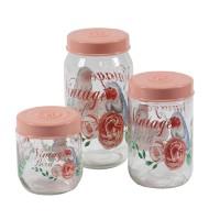 Recipiente pentru bucatarie, 171600-050, sticla transparenta, set 3 borcane
