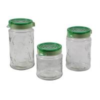 Recipiente pentru bucatarie 143204-502, sticla transparenta, set 3 borcane, diverse culori