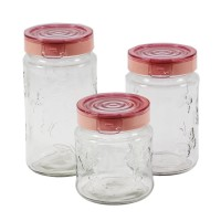Recipiente pentru bucatarie, 143204-508, sticla transparenta, set 3 borcane