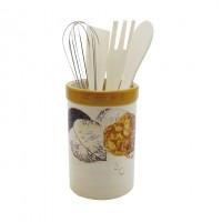 Ustensile bucatarie cu suport din ceramica, HC156-H26, model frunze, 8.5 x 8.5 x 12.8 cm, 5 piese