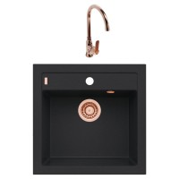 Chiuveta bucatarie compozit granital Alveus Formic 20 A91 carbon neagra patrata 52 x 51 cm + baterie Lola monocomanda cupru