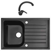 Chiuveta bucatarie compozit granital Alveus Master 30 neagra cuva stanga / dreapta 77 x 50 cm + baterie GM 230 monocomanda neagra