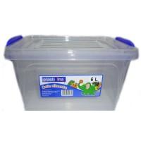 Cutie pentru alimente, plastic, dreptunghiulara, transparenta, cu maner, 6 L