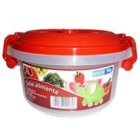Cutie pentru alimente, Inaplast, plastic, rotunda, transparenta, cu maner, 2 L