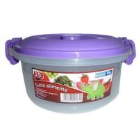 Cutie pentru alimente, Inaplast, plastic, rotunda, transparenta, cu maner, 3.5 L
