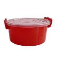 Cutie Ella pentru alimente, plastic, rotunda, rosu, cu maner, 2 L