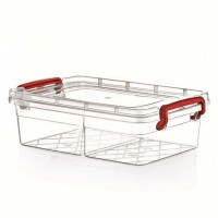 Cutie Mara pentru alimente, plastic, 2 compartimente, transparenta, cu maner, 0.5 L