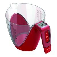 Cantar de bucatarie Kadda EK6750, capacitate 5 kg, masurare volum si greutate, cana gradata detasabila, ecran LED, rosu