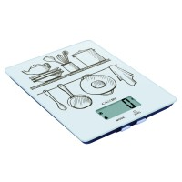 Cantar de bucatarie Kadda EK9331, capacitate 5 kg, suprafata sticla calita, ecran LCD, indicator supraincarcare, alb