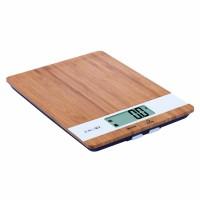 Cantar de bucatarie Kadda EK9710, capacitate 5 kg, suprafata lemn bambus, ecran LCD, indicator supraincarcare, maro