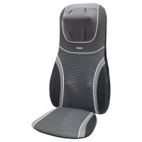 Husa de scaun cu masaj Shiatsu, pentru gat si spate, HoMedics BMSC-4600H-EU, 14 programe, functie caldura, functie vibromasaj, telecomanda, gri + negru