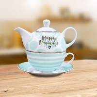 Set ceainic, ceasca si farfurioara, EY3375T, portelan, alb + verde, 450 ml/250 ml