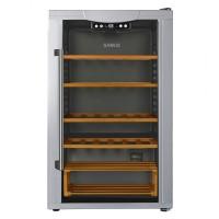 Racitor pentru vin Samus SRV150EA+, 5 rafturi din lemn, 115 litri, capacitate 59 sticle, gri, 84 x 50 x 59 cm