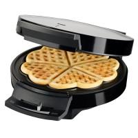Aparat pentru preparat vafe Trisa Waffle Pleasure cod 7352.4212, 1000 W, capacitate 5 vafe, placi neaderente in forma de inima, argintiu + negru