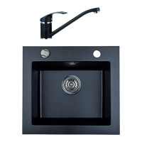 Chiuveta bucatarie compozit granit Paxton Argo 08 neagra patrata 48.5 x 44 cm + baterie BDA 08 neagra
