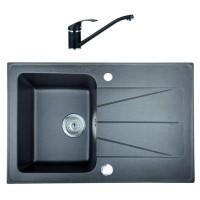 Chiuveta bucatarie compozit granit Paxton Carina 08 neagra cuva stanga / dreapta 77 x 47 cm + baterie BDA 08 neagra