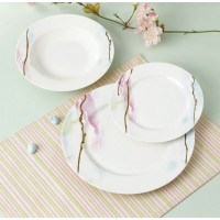 Set farfurii SHJ8611, portelan, alb + roz + maro, 18 piese