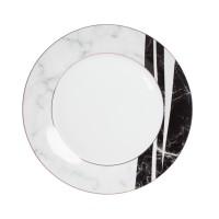 Farfurie intinsa GX5, portelan, alb + negru + gri, 26 cm