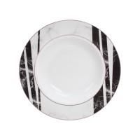 Farfurie adanca GX5, portelan, alb + negru + gri, 21 cm