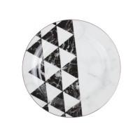 Farfurie desert GX5, portelan, alb + negru + gri, 19 cm