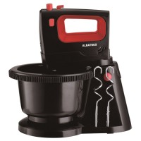 Mixer de mana Albatros MXA300B, cu bol rotativ de 2 l, 300 W, 5 trepte de viteza, functie Turbo, negru + rosu, carlige framantare + teluri amestecare