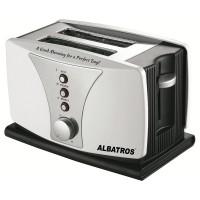 Prajitor de paine Albatros Dueto, 800 W, 2 felii, functie decongelare, functie reincalzire, 6 trepte putere, mecanism automat de ridicare a feliilor, alb + argintiu