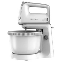 Mixer de mana Rohnson R5530, cu bol rotativ de 3.5 l, 300 W, 5 trepte de viteza, functie Turbo, alb + gri, carlige framantare + teluri amestecare