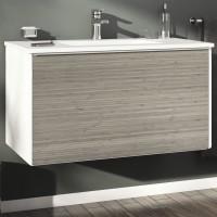Masca baie pentru lavoar, Arthema New Attitude AT1731-BM, cu sertare, alb / bambus, montaj suspendat, 88 x 49 x 48 cm