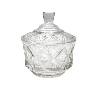 Zaharnita din sticla transparenta, D556, cu capac, 13 x 12.5 x 11.5 cm
