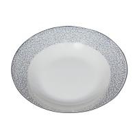 Farfurie adanca D3899, portelan, alb cu model, 20 cm