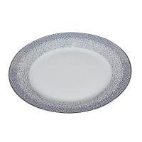 Farfurie desert D3899, portelan, alb cu model, 19 cm