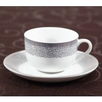 Ceasca si farfurioara cafea D3899, portelan, alb cu model, 220 ml