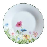 Farfurie intinsa mare D3832, portelan, alb + model floral multicolor, 24 cm