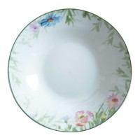 Farfurie adanca D3832, portelan, alb + model floral multicolor, 20 cm