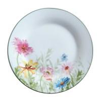 Farfurie desert D3832, portelan, alb + model floral multicolor, 19 cm