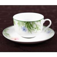 Ceasca si farfurioara cafea D3832, portelan, alb cu model floral, 220 ml