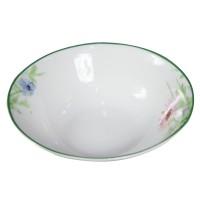 Bol pentru servirea mesei D3832, portelan, alb + model floral multicolor, 15 cm