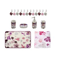 Set accesorii pentru baie, Kadda SWBS-288, model floral mov, 18 piese