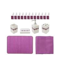 Set accesorii pentru baie, Kadda SWBS-2820, lila, 18 piese