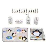 Set accesorii pentru baie, Kadda SWBS-2824 Pingu, 18 piese
